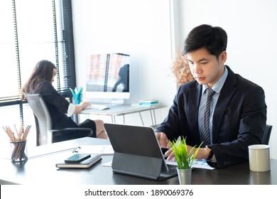 Two businesswomen working on their work in modern office.