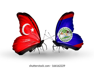 Two butterflies with flags on wings as symbol of relations Turkey and Belize
