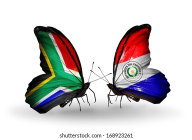 Two butterflies with flags on wings as symbol of relations South Africa and Paraguay