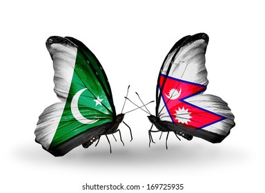Two butterflies with flags on wings as symbol of relations Pakistan and Nepal