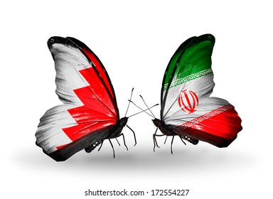 Two butterflies with flags on wings as symbol of relations Bahrain and  Iran