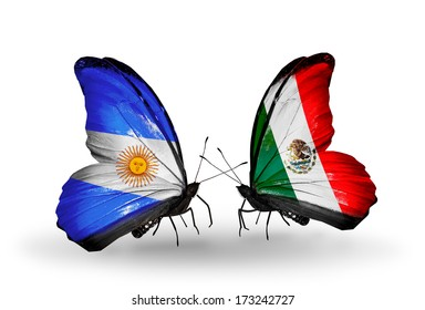 Two butterflies with flags on wings as symbol of relations Argentina and Mexico