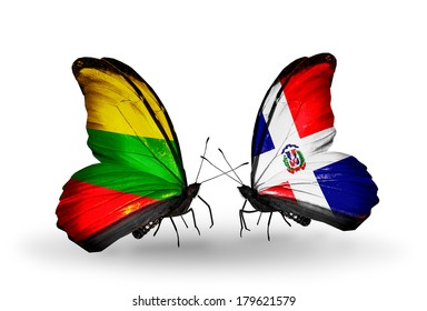 Two butterflies with flags on wings as symbol of relations Lithuania and Dominicana