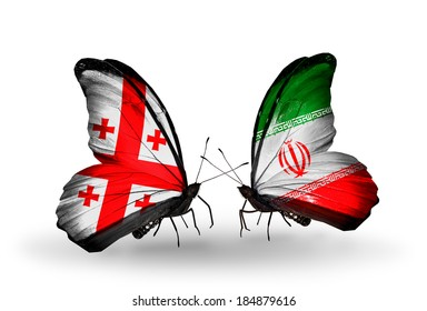 Two butterflies with flags on wings as symbol of relations Georgia and Iran