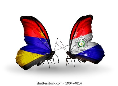 Two butterflies with flags on wings as symbol of relations Armenia and  Paraguay