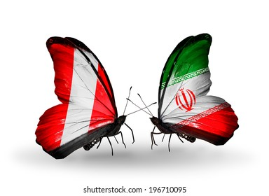 Two butterflies with flags on wings as symbol of relations Peru and Iran