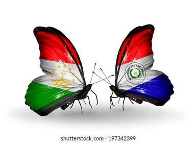 Two butterflies with flags on wings as symbol of relations Tajikistan and Paraguay
