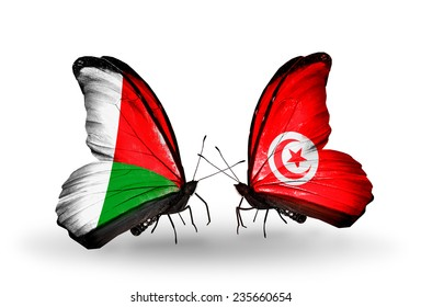 Two butterflies with flags on wings as symbol of relations Madagascar and Tunisia