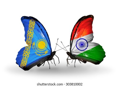 Two butterflies with flags on wings as symbol of relations Kazakhstan and India