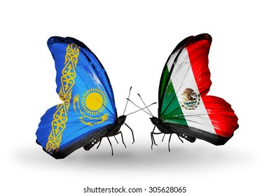 Two butterflies with flags on wings as symbol of relations Kazakhstan and Mexico