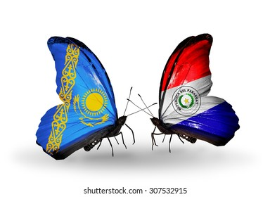 Two butterflies with flags on wings as symbol of relations Kazakhstan and Paraguay