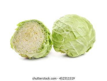 Two cabbage, isolated on white