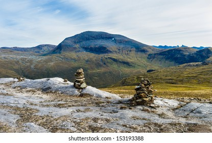Two cairns in front of mt. 'Tromsdalstinden', Troms Norway