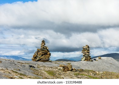 Two cairns in the mountain