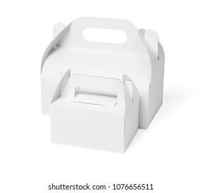 Two Cake Boxes on White Background