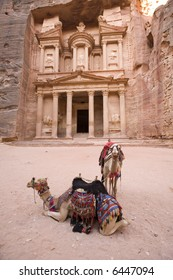 Two camels in front of Treasury at Petra Jordan