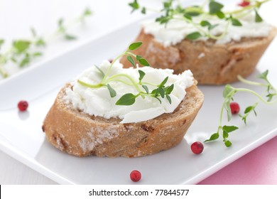 two canape with goat cheese