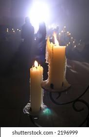 Two candles illumination a festive service