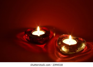 Two candles for Valentine's Day, weddings, and related events, with room for logos, ad copy, etc.