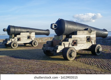 Two cannons in the historical Dutch harbor town Hellevoetsluis