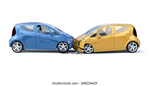Two Car Accident / Safety Concept. White Background
