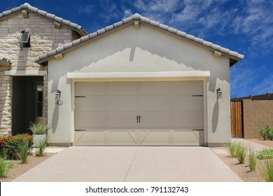 Two Car Garage Modern Upscale Detached Single Family Home Front Exterior