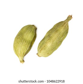 Two cardamon pods isolated on white background.