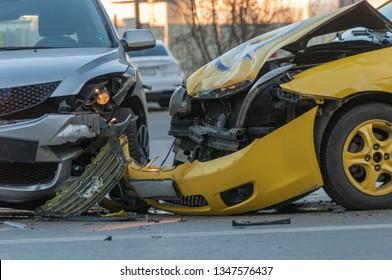 Two cars crashed in the cyti Sofia, Bulgaria