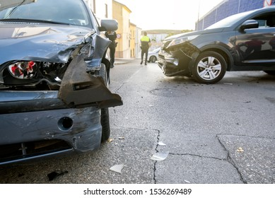 Two cars had a collision accident and suffered severe material damage.