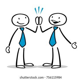 Two cartoon business people share High Five as sign of success