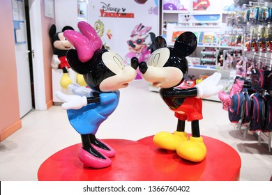 Two Cartoon characters, Mickey mouse and Minnie mouse of The Walt Disney Company in the children's world store. Moscow. 14.12.2018