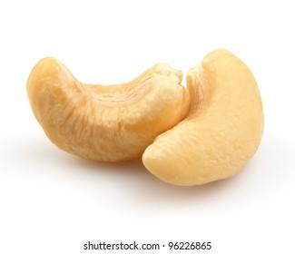 Two cashew in closeup