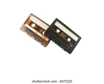 two cassettes isolated on white