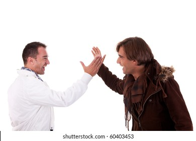 two casual men greeting , isolated on white, studio shot