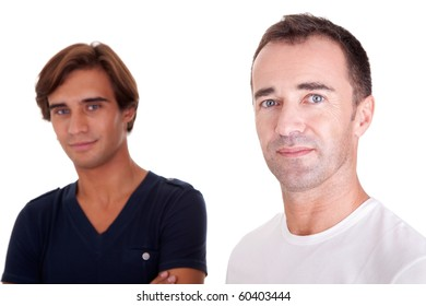 two casual men, isolated on white, studio shot