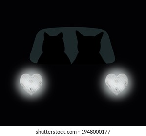 Two cats is driving a car on the highway at night. Heart shaped headlights. Black background.