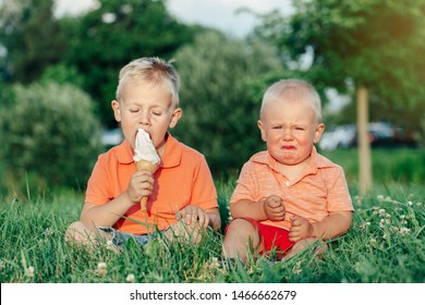 Two Caucasian funny children boys siblings sitting together eating sharing one ice-cream. Toddler younger baby crying and older brother teasing him. Love envy jealous brothers friendship.
