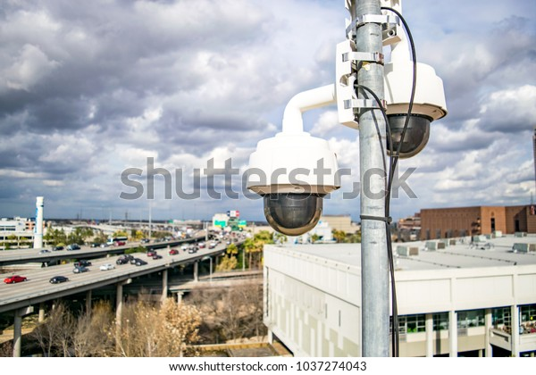 Two Cctv Securitytraffic Cameras Above American Stock Photo