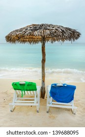 Two chairs on a Cuban beach