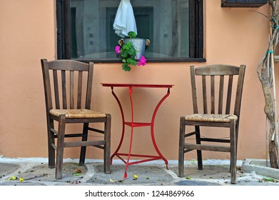 Two chairs and table at the house, Naxos, Greece