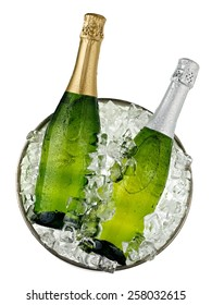 Two champagne bottles in a bucket with ice, top view