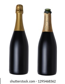 Two Champagne Bottles isolated on white. Both have no label, one is open with foil torn back and the other is closed.