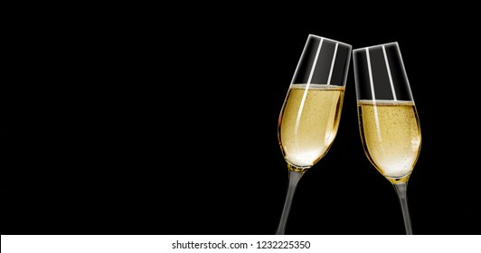Two champagne glasses on a white background with copy space