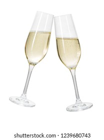 Two champagne glasses on a white background