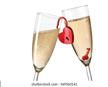 Two champagne glasses with a red heart padlock, close up