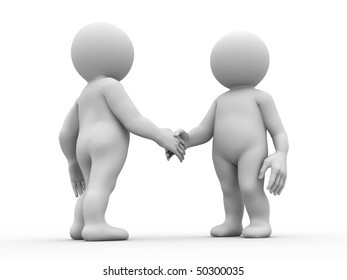 two characters shaking their hands