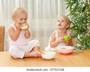 Two charming sisters babies eat a meal in the kitchen. Feeding babies.