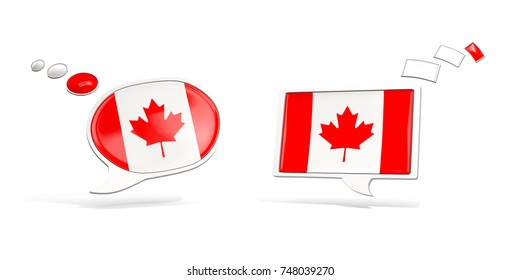 Two chat icons with flag of canada. Round and square speech bubbles. 3D illustration