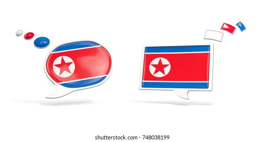 Two chat icons with flag of korea north. Round and square speech bubbles. 3D illustration