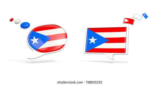 Two chat icons with flag of puerto rico. Round and square speech bubbles. 3D illustration